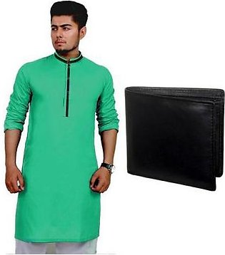 Hyperzone Pack Of 2 Mix Cotton Kurta For Men With Leather Wallet HYP-107 Black