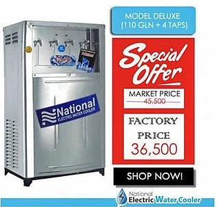 National Electric Water Cooler Deluxe 110 Gallon with 4 Taps Silver