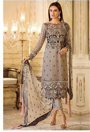 Sifona 4 Pcs Salte Desire Unstitched Suit ECC – 04 Grey