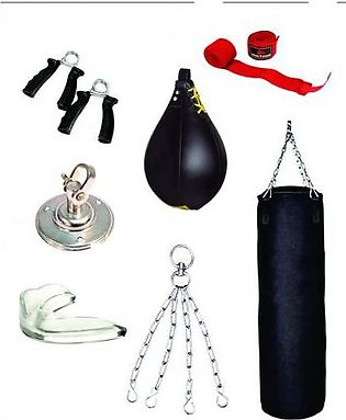 Punching Bag With Speed Ball and Hand Grips - Black