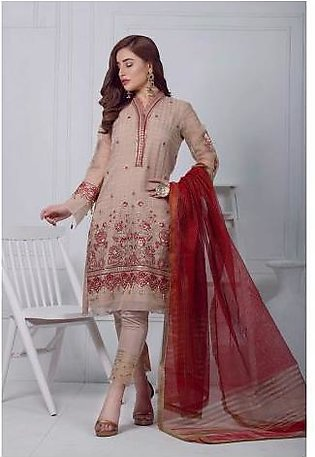 Sifona 3 Pcs Unstiched Suit For Women ALC08 Beige & Red
