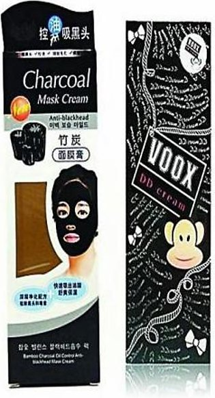 Pack Of 2 Voox Charcoal Mask & Dd Cream Foundation BT-109 Transparent