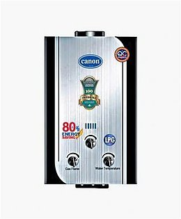 Canon Instant Gas Water Heater Geyser 8 to 10 ltrs NG + LPG Grey