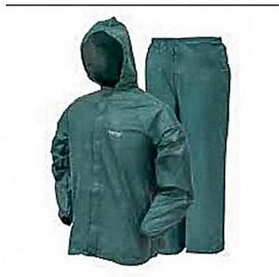 Rubber Coated Rain Coat Suit With Trouser For Unisex Green