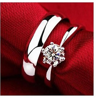 Stone Couple Ring For Women - White Gold