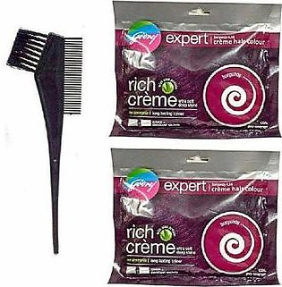 Pack Of 2 Burgundy Hair Color & Comb