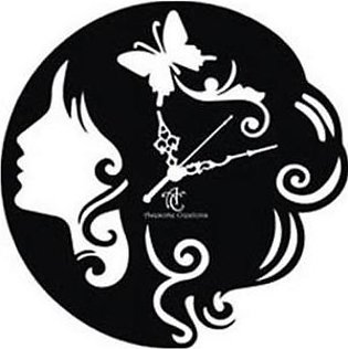 ProtonX Girl In The Clock Acrylic Wall Clock PX22 Black