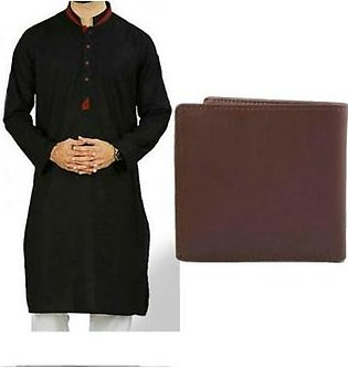 Hyperzone Pack Of 2 Cotton Kurta For Men With Leather Wallet HYP-74 Black