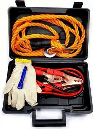 Casta Car Sos Kit With Booster Cable, Tow Wire, Gloves And Torch Black