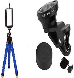 Pack Of 3 Flexible Tripod Mobile Stand, Wide Camera Lens 0.4X & Mobile Holder...
