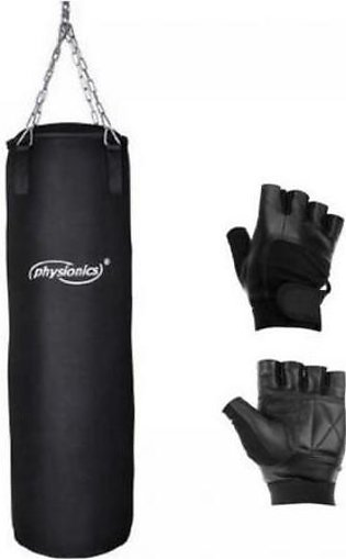 Pack of 2 Punching Bag & Mma Boxing Gloves Black