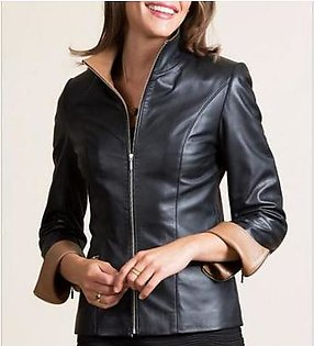 House of Leather Real Sheep Leather Jacket for Women Black