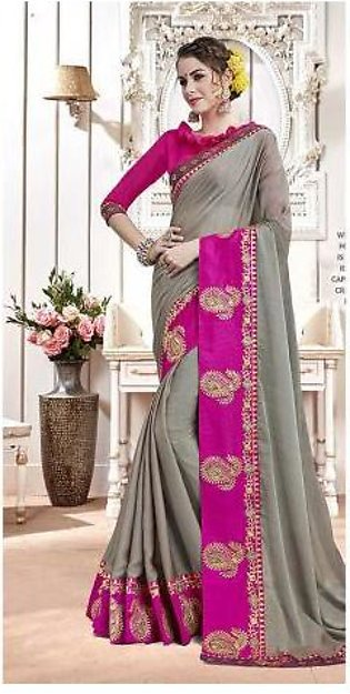 Dream Girl Semi Stitched Saree For Women Vol 2 1006 Grey & Pink