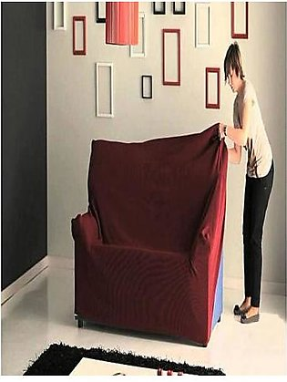 Fitted Jersey Sofa Cover Maroon