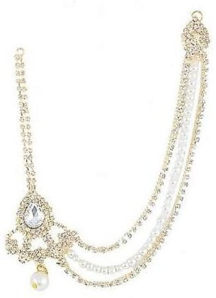 Jewellery Hut Gold Plated Zircons & Pearl Matha Patti For Women Jh-077