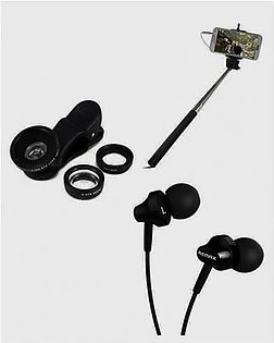 Pack of 3 Earphone, Wired Selfie Stick & Mobile Lens Black