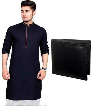 Hyperzone Pack Of 2 Mix Cotton Kurta And Leather Wallet For Men HYP-154 Black