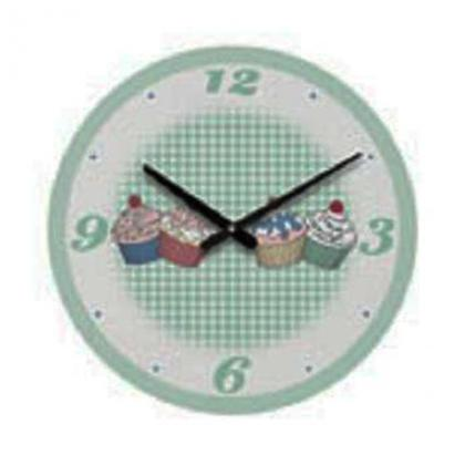 Cupcake Wall Clock Green