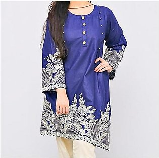 Frock Style Embroidered Short Sleeves Lawn Kurti For Women Navy Blue