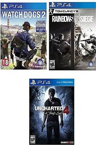SONY Pack Of 3 Rainbow Six: Siege, Watch Dogs 2 & Uncharted 4: A Thief's End ...