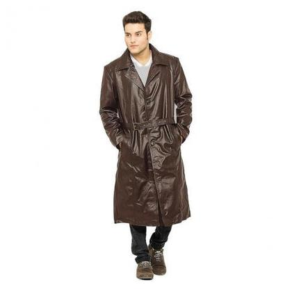 Moncler Faux Leather Highstreet Long Coat For Men Shp-65 Brown