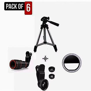Pack of 5 Tripod | Rechargeable Ring Light | Telescopic Lens