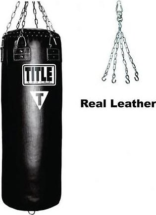 TITLE Leather Punching Bag With Chain - Black