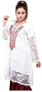Kunash Frock Style Embroidered Net Shirt For Women 8999 White