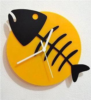 ProtonX Korona Fish Acrylic Wall Clock PX34 Yellow