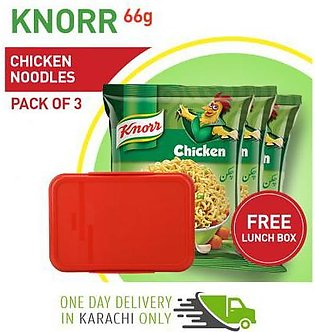Pack of 3 Knorr Chicken Noodles 66 gm with Free Lunch Box