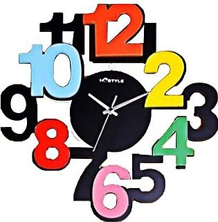 Wooden Big Digits Wall Clock Multicolor