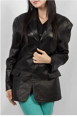 House of Leather Sheep Leather Three Buttons Coat for Women Black