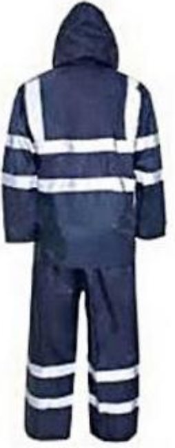 Pvc Rubber Coated Rain Coat Suit With Trouser For Unisex Blue