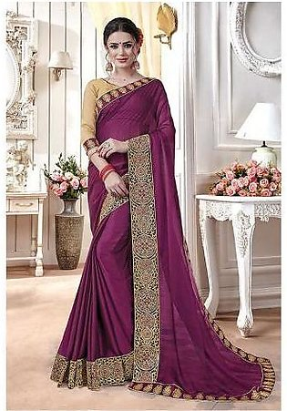 Dream Girl Semi Stitched Saree For Women Vol 2 1004 Purple & Biscuit