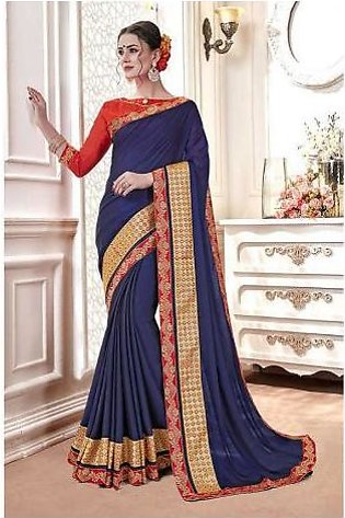 Dream Girl Semi Stitched Saree For Women Vol 2 1010 Blue & Red
