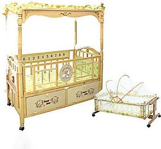 Mama & Baby Wooden Cot For Baby 809 Brown