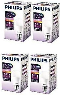 Philips Pack Of 4 Ess LED Bulb 12W E27 Warm PL-066 White