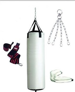 Punching Bag With Wrist Wraps and Mouth Guard - White