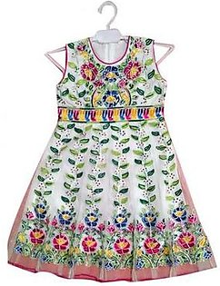 Fancy Net Embroided Frock For Baby Girls Multicolor