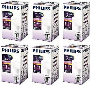 Philips Pack Of 6 Ess LED Bulb 12W E27 Warm PL-002 White