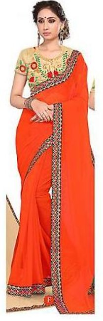 Ruchika Saree for Women Orange & Golden
