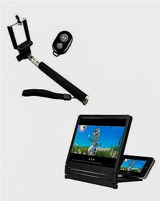 Pack of 2 Selfie Stick & 3D Magnifying Screen Black
