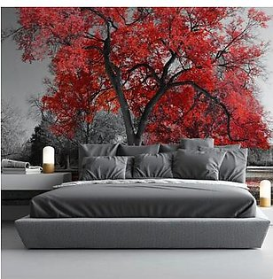Bednshines Space Expansion Wallpapers Big Red Tree WIS-071 Multicolor