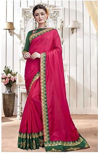 Dream Girl Semi Stitched Saree For Women Vol 2 1001 Red & Green