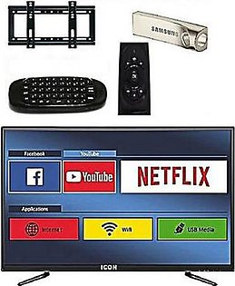 Icon 32 Inch LED Full HD Android Smart TV With Wall Mount, 32 GB USB & Air Mouse Black