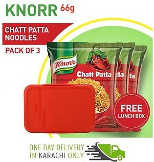 Pack of 3 Knorr Chattpatta Noodles 66 gm with Free Lunch Box