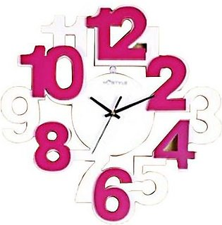 Wooden Big Digits Wall Clock Pink