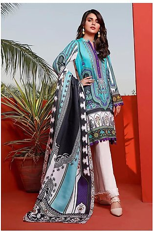 3 PC Unstitched Digital Printed Linen Suit with Shawl WNS-87 A