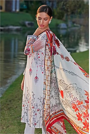 3 PC Unstitched Embroidered Lawn Suit with Silk Dupatta SSM-17