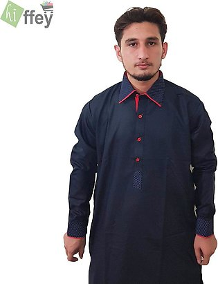 Black Printed Kurta For Men